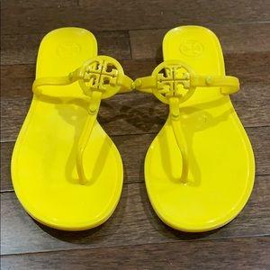 Tory Burch Yellow Jelly Flip Flops